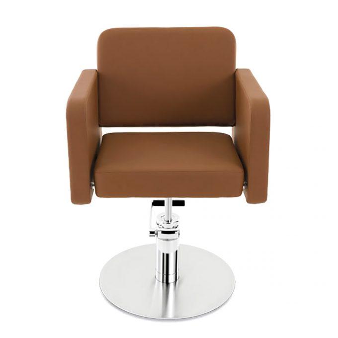 fauteuil de coiffure assise large en skai marron caramel et pied en acier rond
