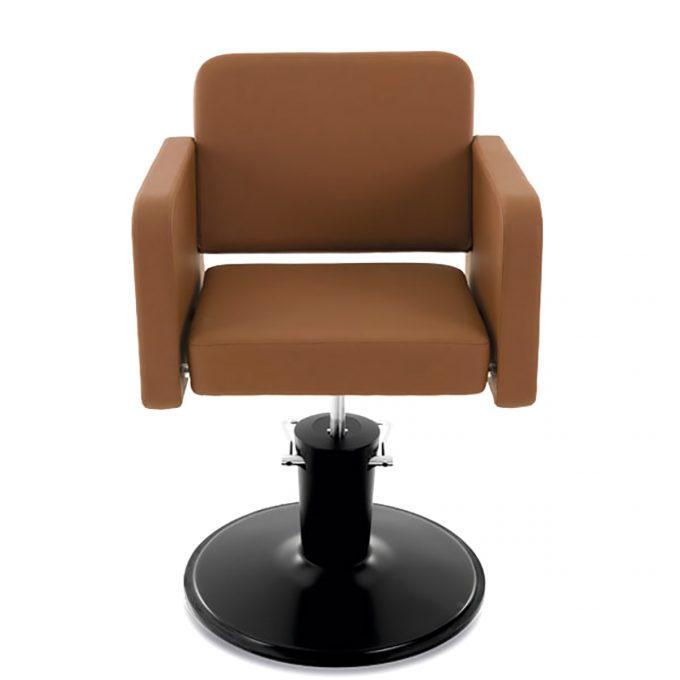 fauteuil de coiffure assise large en skai marron caramel et pied en acier rond noir
