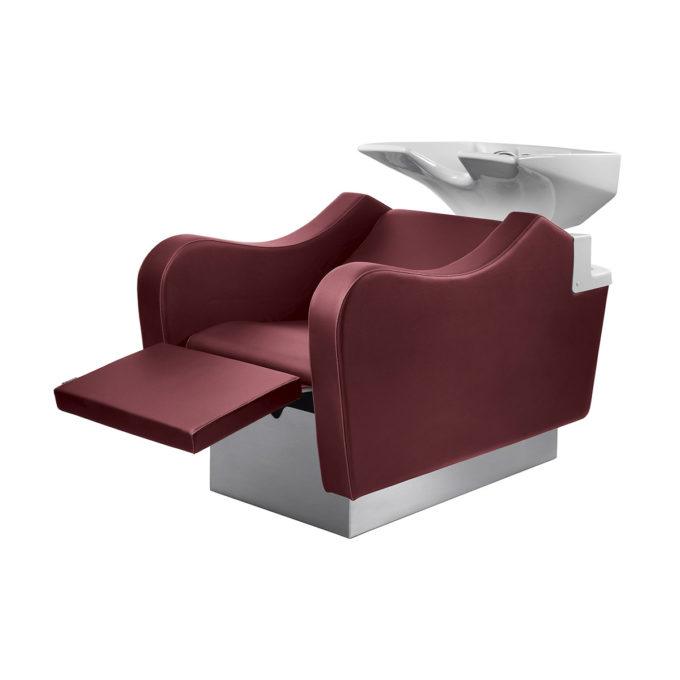 bac de coiffure avec structure blanche et assise en skai rouge, vasque en ceramique blanche