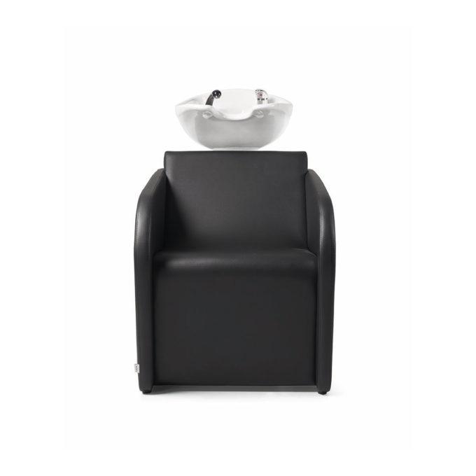 bac de lavage noir peu spacieux avec vasque blanche
