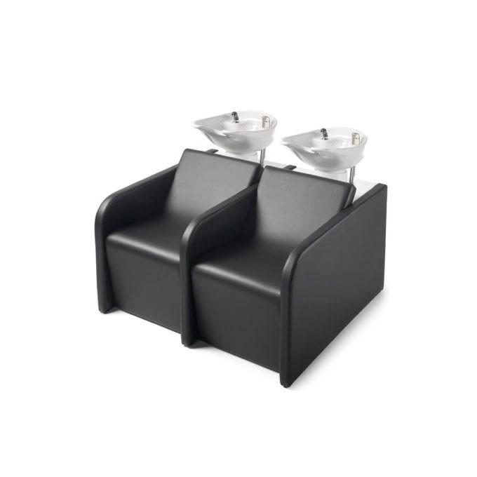 Double bacs de lavage noir avec vasque céramique blanche