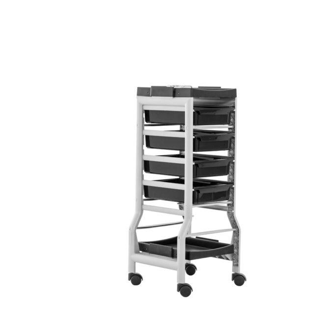 Chariot à roulettes avec tiroirs en plastiques noir structure en métal gris, porte sèche cheveux