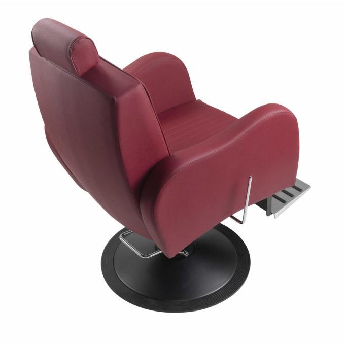 fauteuil de barbier rouge et noir avec repose pieds