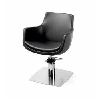 fauteuil de coiffure pvc noir avec base carré et pompe hydraulique