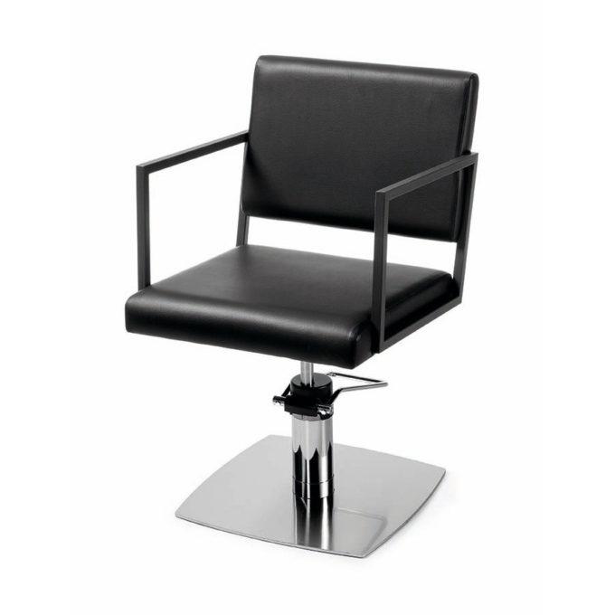 Siège de coiffure pied carré en métal brillant avec structure en métal noir et revêtement skaï