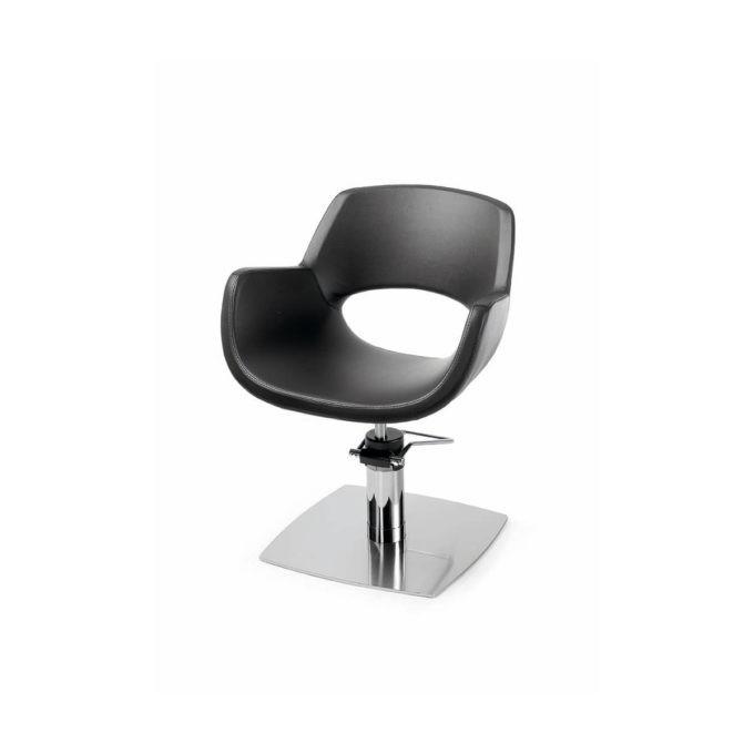 fauteuil de coiffure monobloc noir avec pied carré plat métal brillant pompe hydraulique