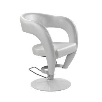 siège de coiffure original blanc en similicuir et pied en métal blanc avec pompe hydraulique