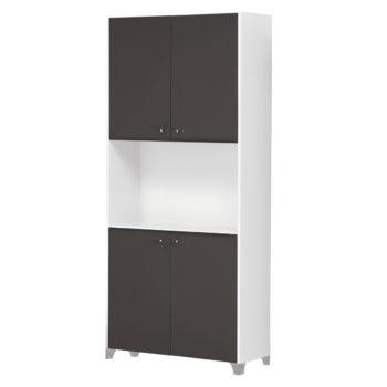 armoire de rangement structure blanche et porte en stratifié noir