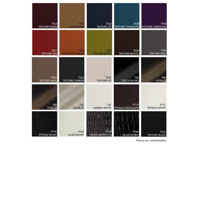 Nuancier de textures skai pour revêtement bacs, fauteuils de coiffure et d'attente