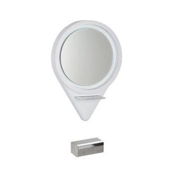 Miroir rond mural de coiffure avec structure en polyuréthane blanc et repose-pieds en béton
