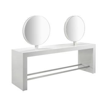 coiffeuse 4 places avec miroirs ronds, structure en bois blanc, reposes pieds en métal