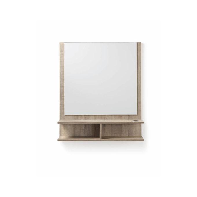 poste de coiffage mural effet bois clair avec rangements et grand miroir