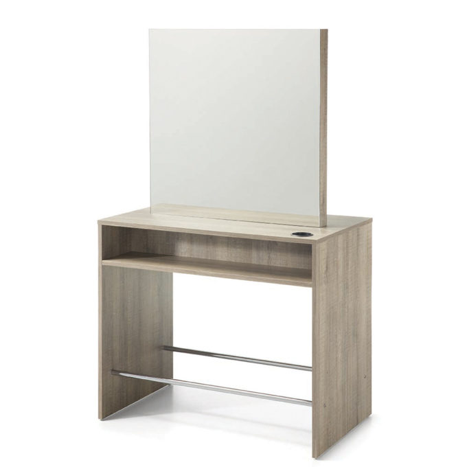 Poste de coiffure deux place en bois laminé effet naturel deux repose pieds, deux grand miroirs dos à dos, portes sèchoirs
