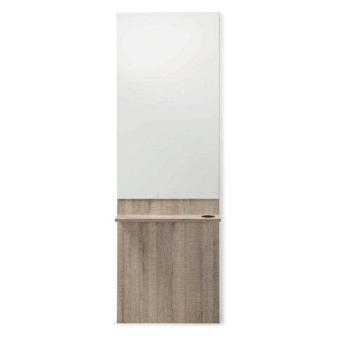 poste de coiffage Alon stratifié bois avec grand miroir