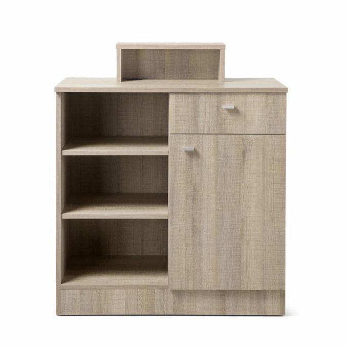 meuble caisse avec étagères tiroir et placard bois clair