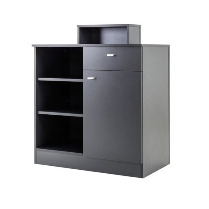 meuble caisse avec étagères et tiroir et placard noir