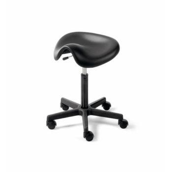 Tabouret noir à roulette avec assise rembourée en forme de selle pour plus de confort, noir et pied en métal noir