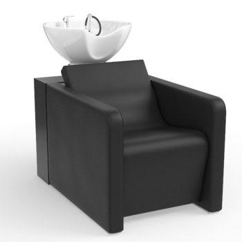 Bac de lavage noir avec vasque blanche structure en bois stratifié et revêtement en skai noir