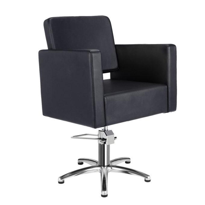 Fauteuil de coiffeur noir forme carré avec assise épaisse en skai noir, pied étoile métal