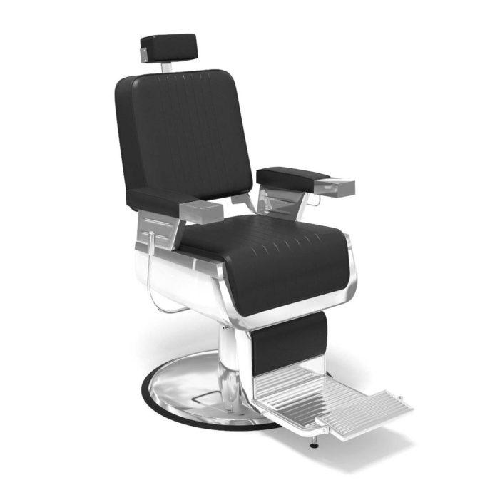fauteuil de barbier en similicuir noir avec accoudoirs, repose pieds et appuie tête et base en métal chromé, design moderne et rétro