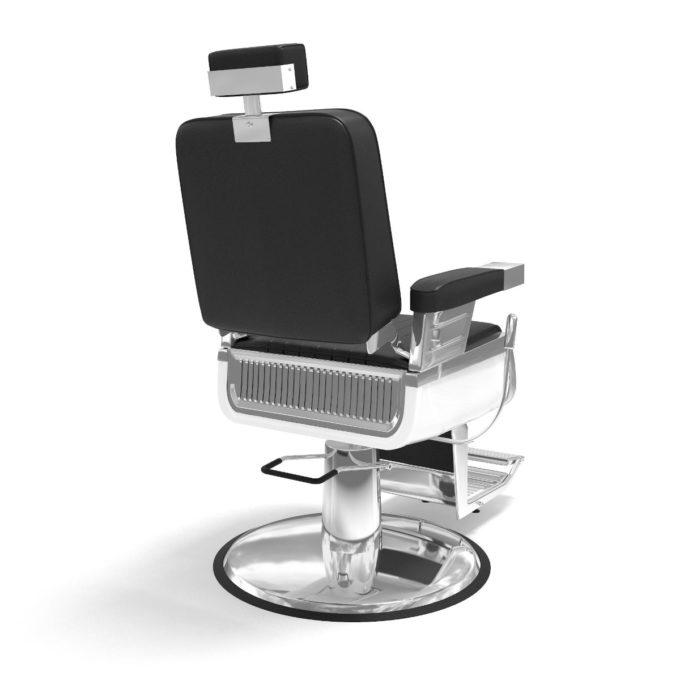 fauteuil de barbier noir et chromé pied rond, vu de dos