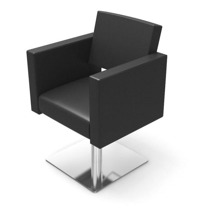 fauteuil de coiffure noir large avec pied carré en acier