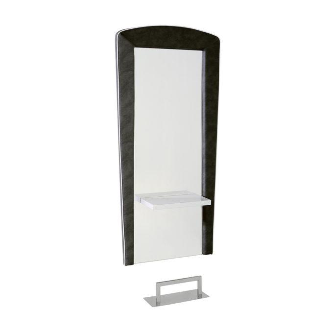 Coiffeuse grand miroir avec structure en contour en skai, tablette en stratifié ou noir laqué, repose pieds en acier inoxydable