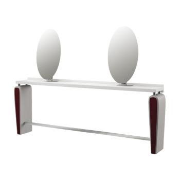 Coiffeuse deux places murale avec finitions en skai rouge et blanc, repose-pieds en acier et 2 miroirs ronds