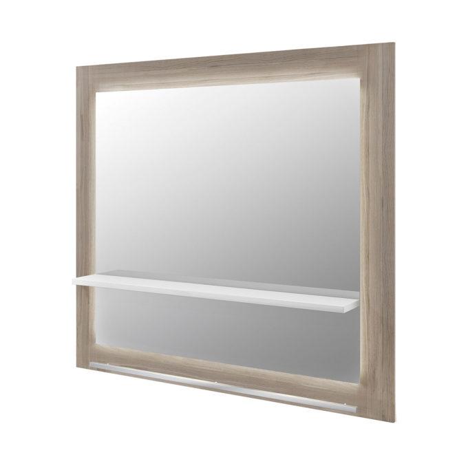 Poste de coiffage 2 places, grand miroir avec contour en stratifié effet bois, tablette blanche et repose pieds en acier