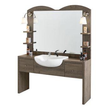 Poste de barbier en bois stratifié effet naturel avec forme contemporain et épuré, lampes intégrées et vasque en céramique large avec douchette