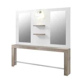 Poste de coiffure deux places avec grand miroir, lampe et étagères centrales, en bois laqué blanc et stratifié bois, complet et contemporain