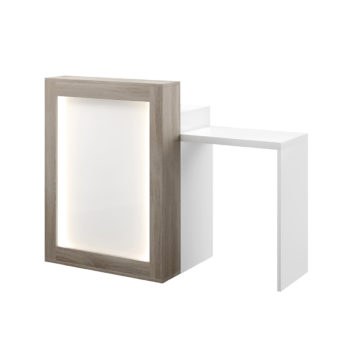 Meuble caisse avec extension pour PMR, devanture lumineuse, finitions en stratifié