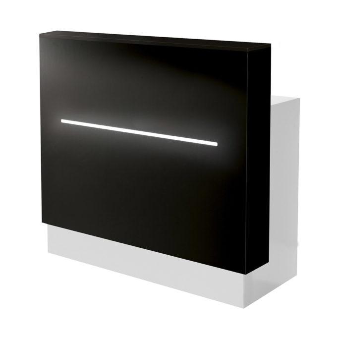 Meuble de réception de salon de coiffure noir et blanc avec bande lumineuse LED en partie frontale