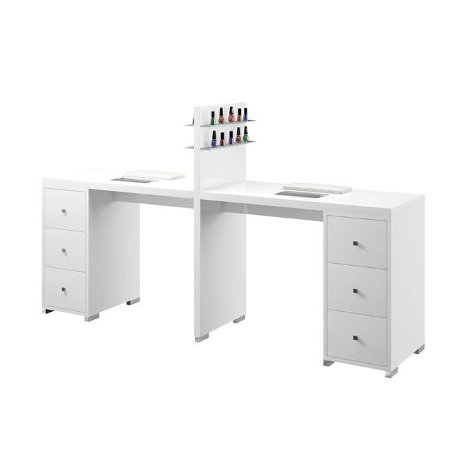 Table de manucure blanche deux places avec tiroirs, étagères pour vernis à ongle et aspirateurs et coussins