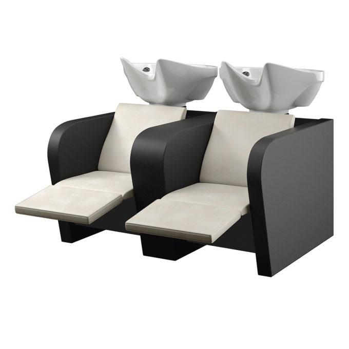 Double bac à shampoing avec relax électrique pour les jambes, couleur noir et blanc cassé, étagères pour les soins