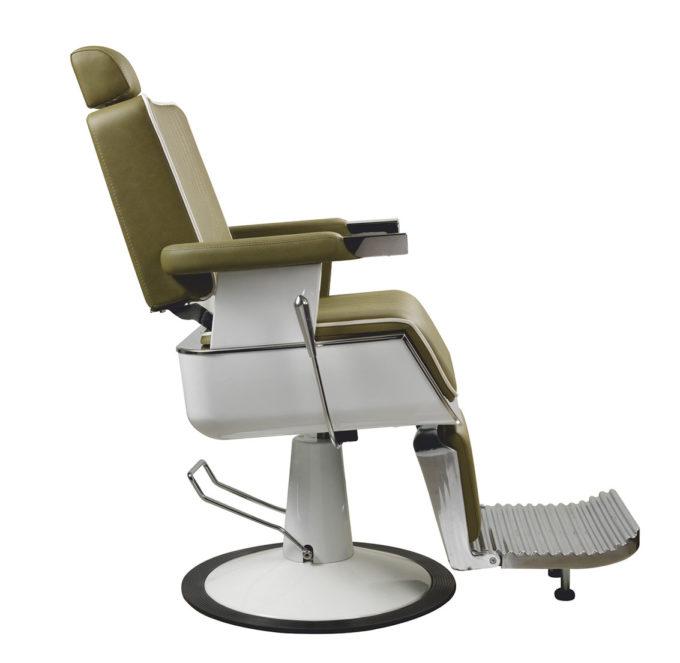 fauteuil de barbier rétro blanc et kaki