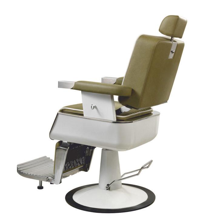 fauteuil barbier kaki et blanc