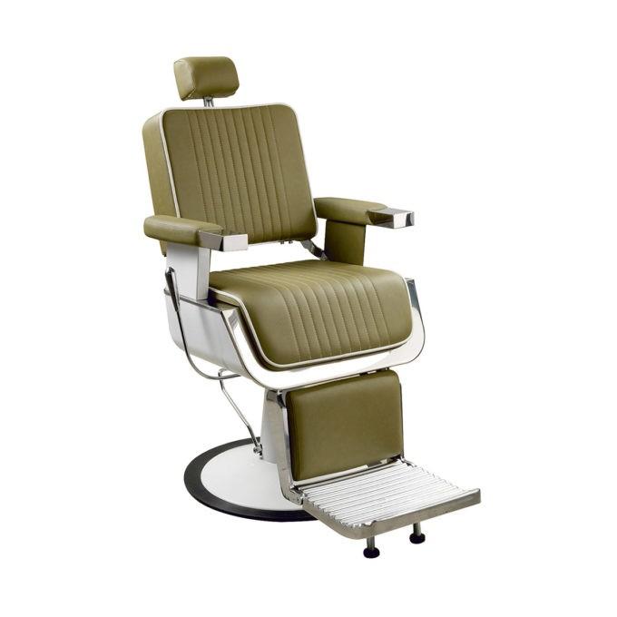 Fauteuil de barbier vert kaki avec dossier et assise rectangle, repose pieds et base en métal blanc