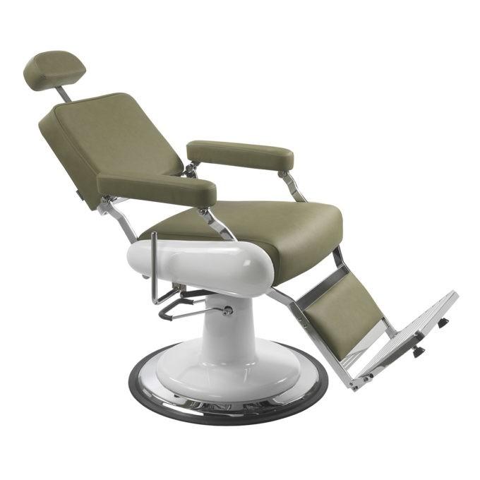 fauteuil de barbier kaki avec structure blanche et chromé repose jambes et appuie tête