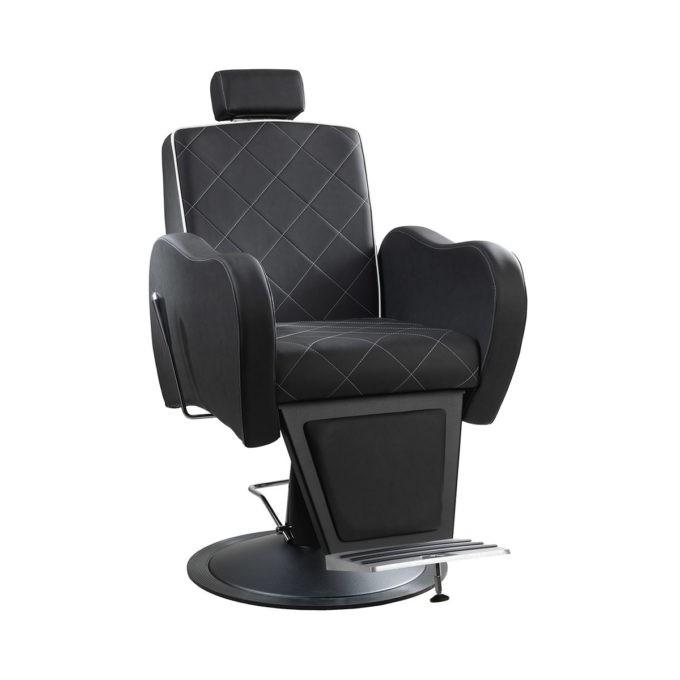 Fauteuil de barbier noir avec motif en losange, moderne et confortable avec repose-pieds et appuie tête réglable et inclinable