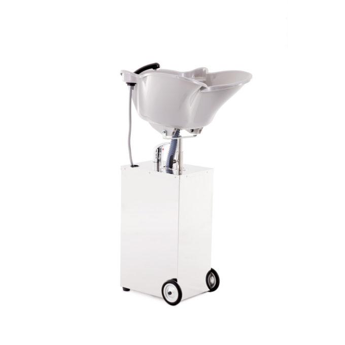 bac à shampoing spécial personnes à mobilité limitée, vasque basculante, léger avec roulettes