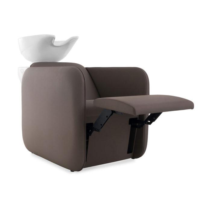 Bac à shampoing relax avec repose jambes électrique réglable texture similicuir marron