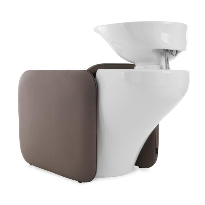 bac à shampoing petit avec structure blanc et fauteuil chocolat