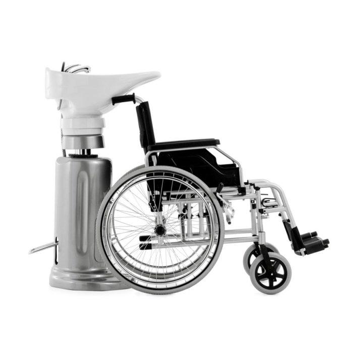 bac à shampoing vasque inclinable rehaussable et mobile spécial PMR, gris sylver