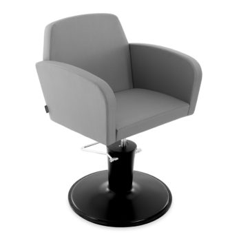 Siège de coiffure avec pied rond noir mate et robuste et assise en pvc gris