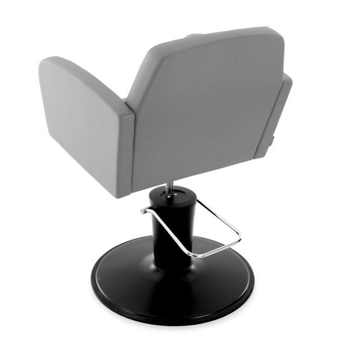 chaise de coiffure avec pompe hydraulique, siège gris et pied rond noir