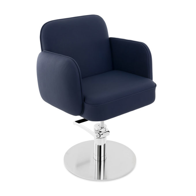 Siège de coiffure avec assise confortable épaisse tapissée de skai bleu et pied rond en acier brillant