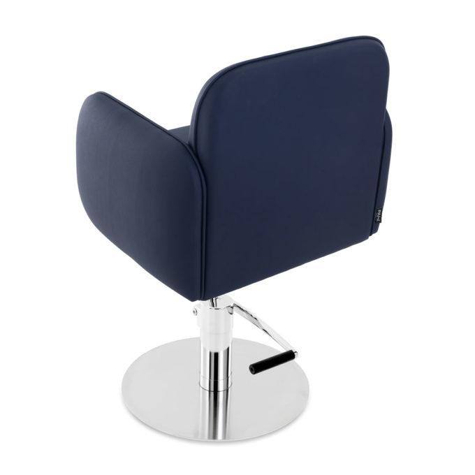 chaise de coiffure bleu avec assise confortable et base ronde