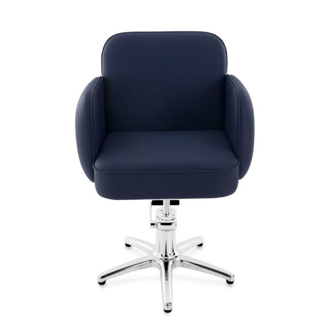 fauteuil de coiffure bleu avec pied en métal étoile