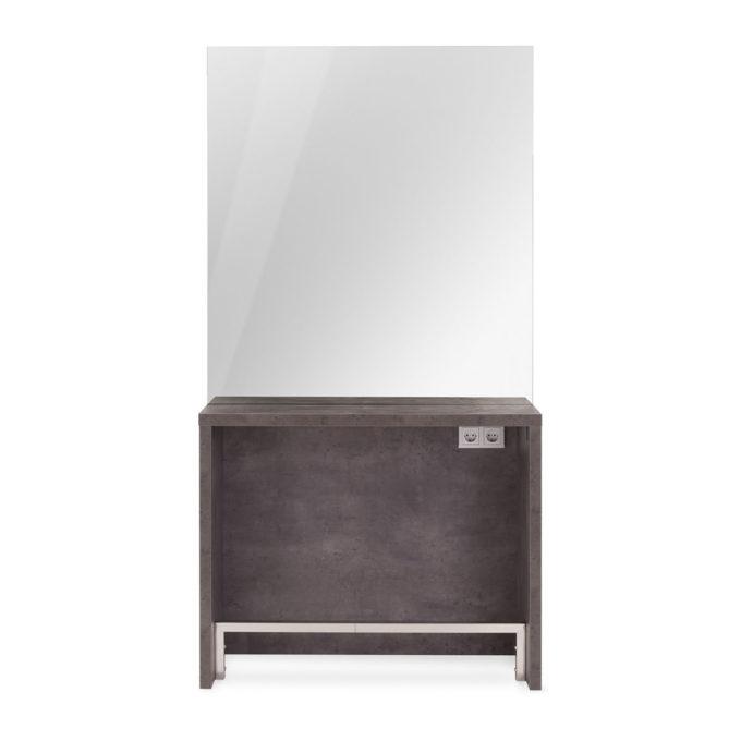 Poste de coiffure en bois stratifié couleur taupe, repose pieds en métal, grand miroir argenté et double prises électriques